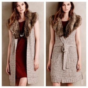 Anthropologie Angel of the North Fur Sweater Vest